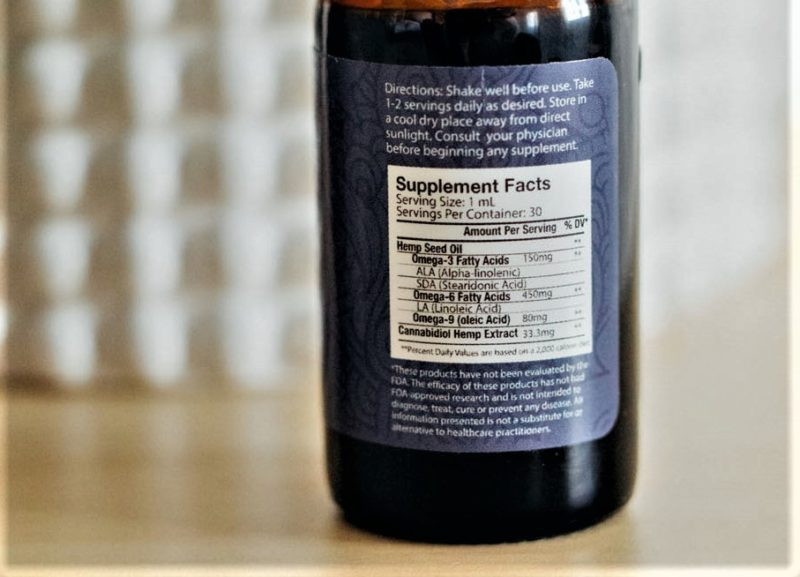 Close up of Axon CBD Oil directions label