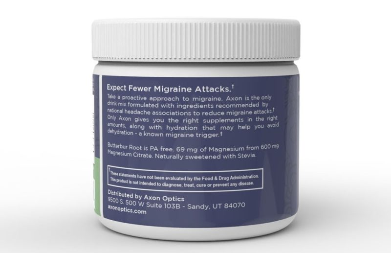 Axon Migraine Supplement Back Label