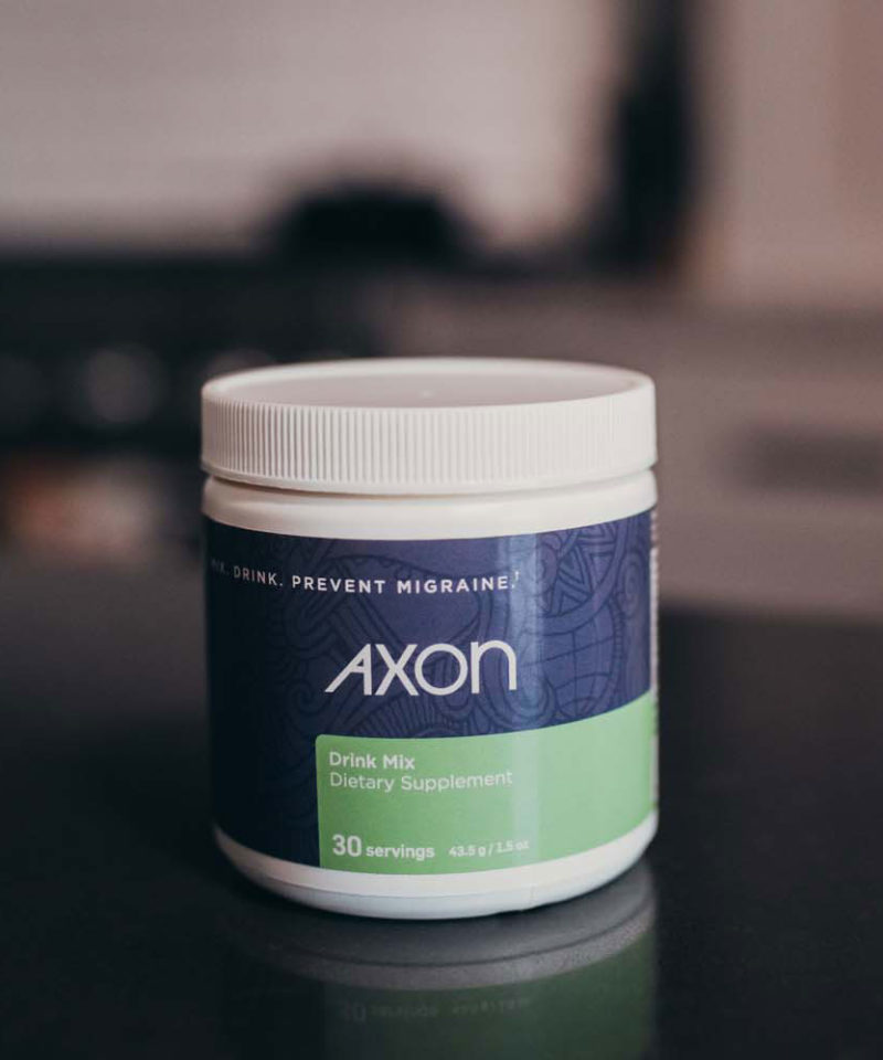 Up close picture of Axon Migraine Supplement Drink Mix
