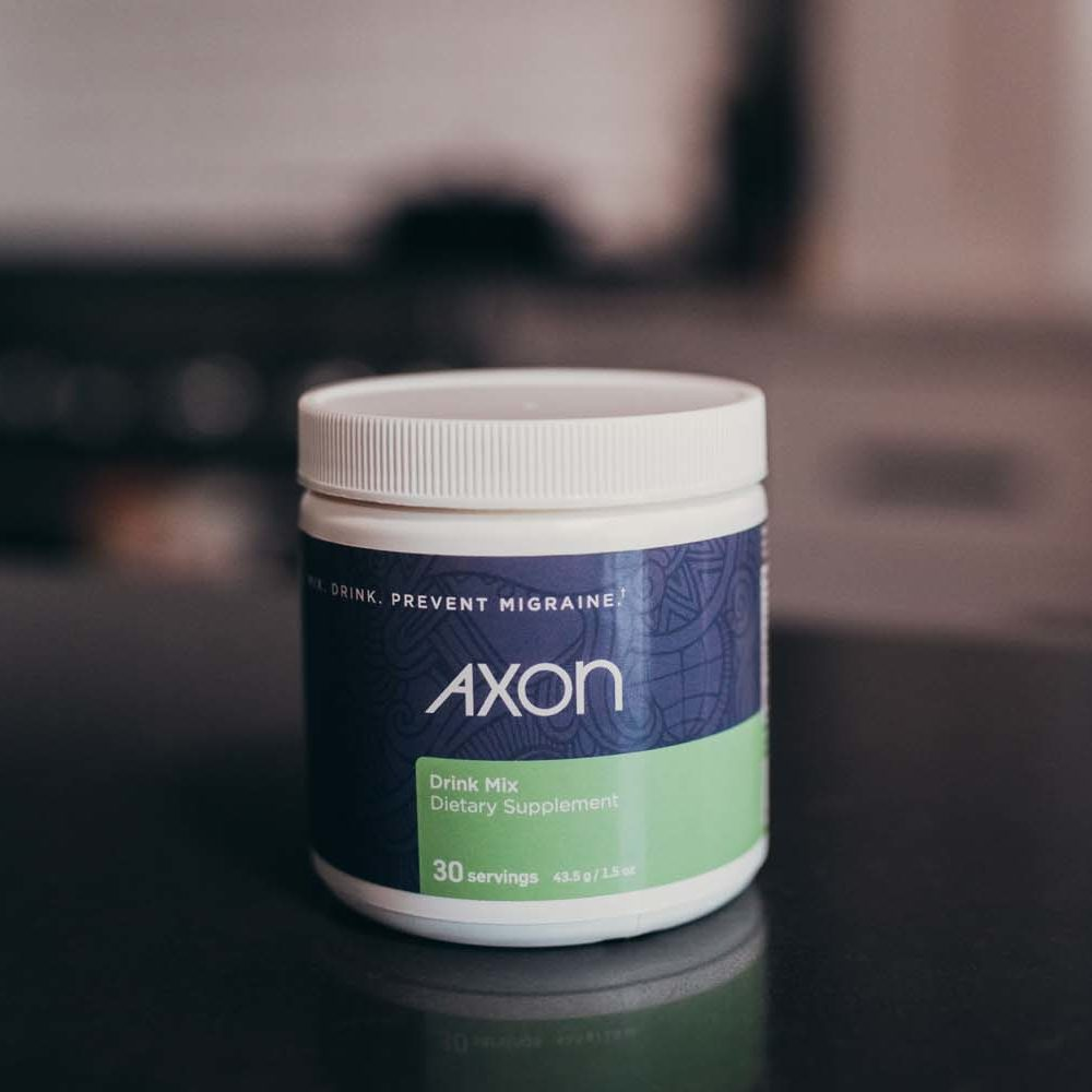 Jar of Axon Migraine Supplement Drink Mix